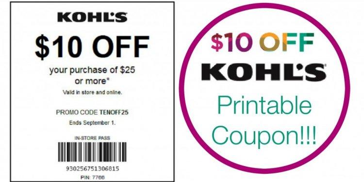 $10/$25 Kohls Printable In