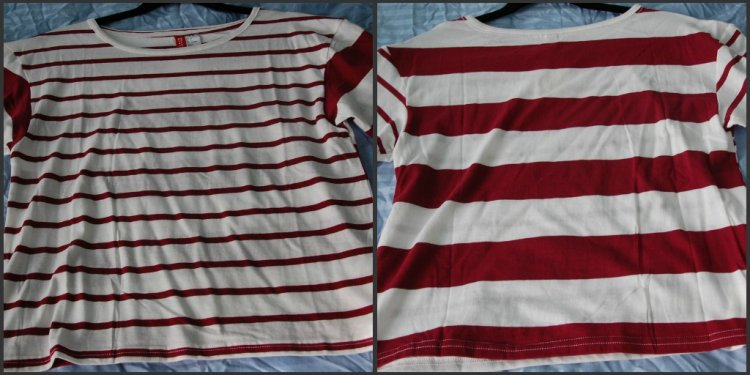 Burgundy striped tee, $12.95