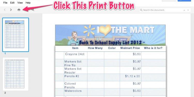 Walmart List - Price Match