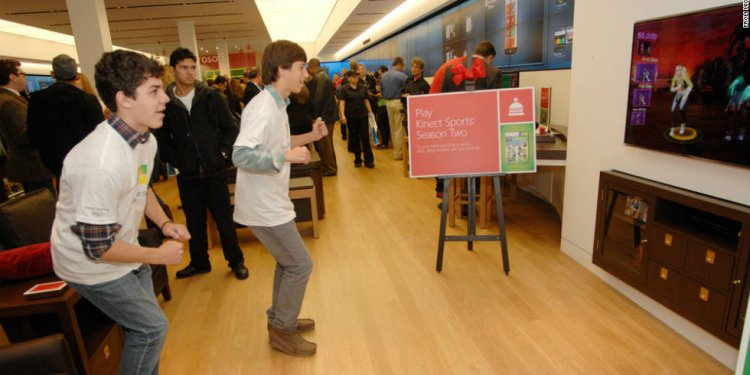 Customers play a Kinect dance