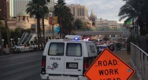 vegas Metro automobiles parked along Las Vegas Boulevard following a shooting at Fashion Show Mall on Tuesday, July 15. (Elizabeth Watts/FOX5)