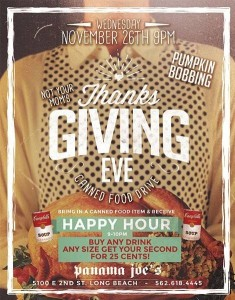 Thanksgiving-Eve-Canned-Food-Drive-Happy-Hour-9-10-Panama-Joes-Belmont-Shore